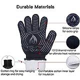 AngLink Grillhandschuhe, BBQ Handschuhe bis zu 800°C 1 Paar Rutschfeste Hitzebeständiger Handschuhe mit Silikon Ofenhandschuhe Topfhandschuhe Backhandschuhe für Grill Kochen Backen und Schweißen 33CM - 4