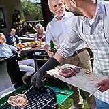 AngLink Grillhandschuhe, BBQ Handschuhe bis zu 800°C 1 Paar Rutschfeste Hitzebeständiger Handschuhe mit Silikon Ofenhandschuhe Topfhandschuhe Backhandschuhe für Grill Kochen Backen und Schweißen 33CM - 8