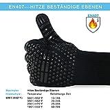 AOMEES Grillhandschuhe Ofenhandschuhe - Hitzebeständig BBQ Handschuhe 500 ° C / 932 ° F 1 Paar: Rutschfeste Perfekt zum Kochen Grill & Feuerplatz Zubehör Backhandschuhe mit EN407 Zertifizierte - 3