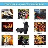 Karrong Grillhandschuhe Hitzebeständig Ofenhandschuhe, BBQ Handschuhe Hitzebeständig bis zu 500℃ / 932℉ mit EN407 Zertifizierte für BBQ, Grill, Kochen, Backen, Schweißen, Schwarz(1 Paar) - 7
