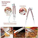 BBQ Grill Werkzeugset Grillbesteck Set Grillzubehör Grillhandschuhe Hitzebeständig bis 500°C,Grillthermometer Fleischthermometer Digitale,Grillmatten,Fleisch Krallen,Silikonwürzbürste - 6