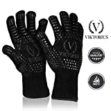 Viktorius Grillhandschuhe hitzebeständig bis 500°C Premium Ofenhandschuhe Extra Lang | BBQ Handschuhe Inklusive Grillzange - 2