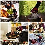 Win.Max Grillhandschuhe,Ofenhandschuhe BBQ Kochenhandschuhe Backhandschuhe Hitzefeste Handschuhe Kaminhandschuhe bis zu 800°C 1 Paar Silikon Rutschfeste EN407 Zum Grillen,Kochen,Schweißen,Feuerplatz - 7