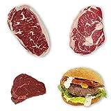 Wagyu Kobe Style Probierpaket - ca. 280 g Ribeye u. Roastbeef; 2 x ca. 200 g Sirloin Medaillons u. Steakhouse Burger 4 x ca. 170 g + handmade Bread