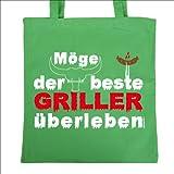 bedruckte Tasche fürs Grillen: Möge der beste Griller Geschenk Baumwolltasche Tragetasche Einkaufstasche Geburtstag